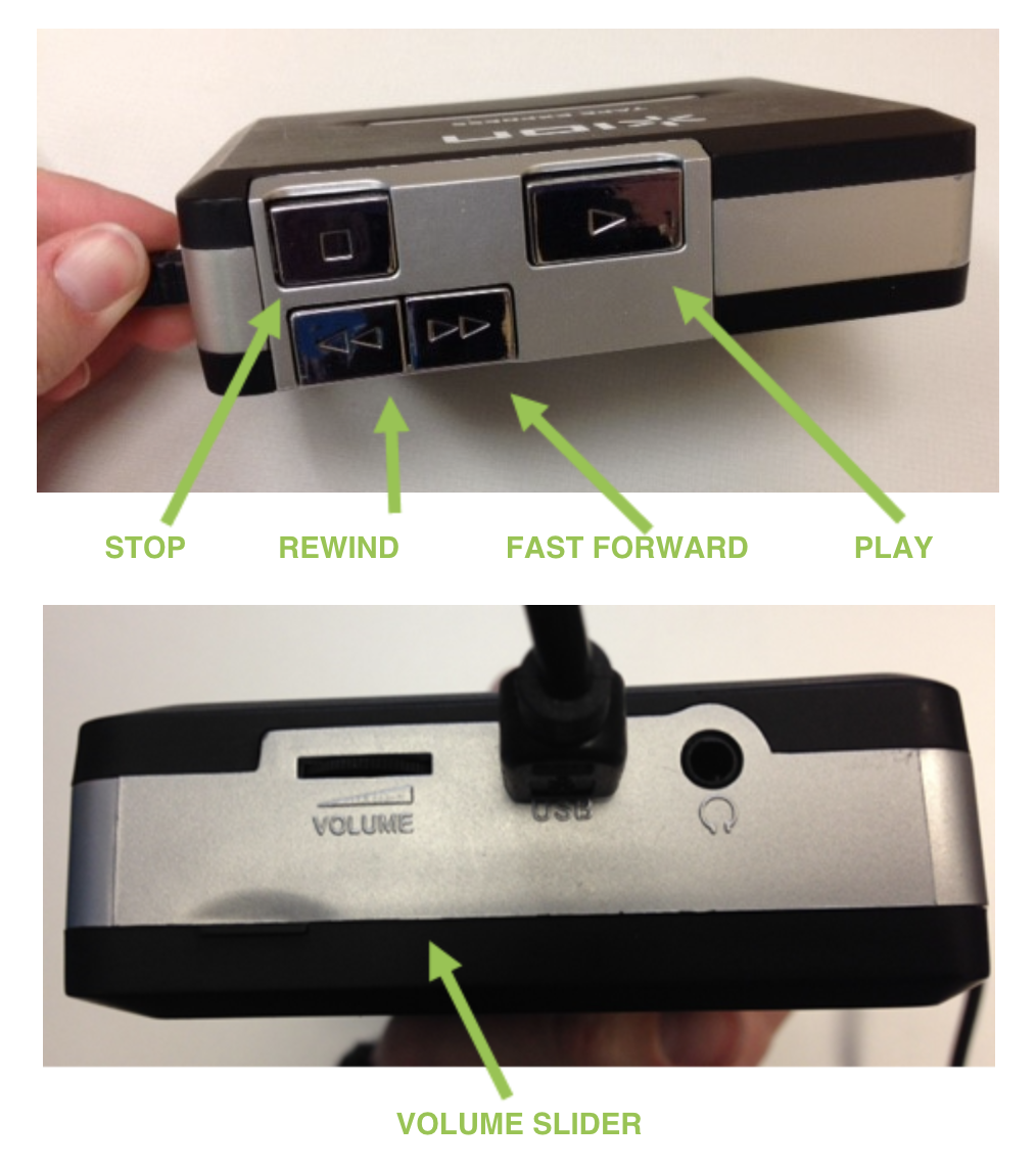 Images showing controls on the ION Tape Express and USB port.
