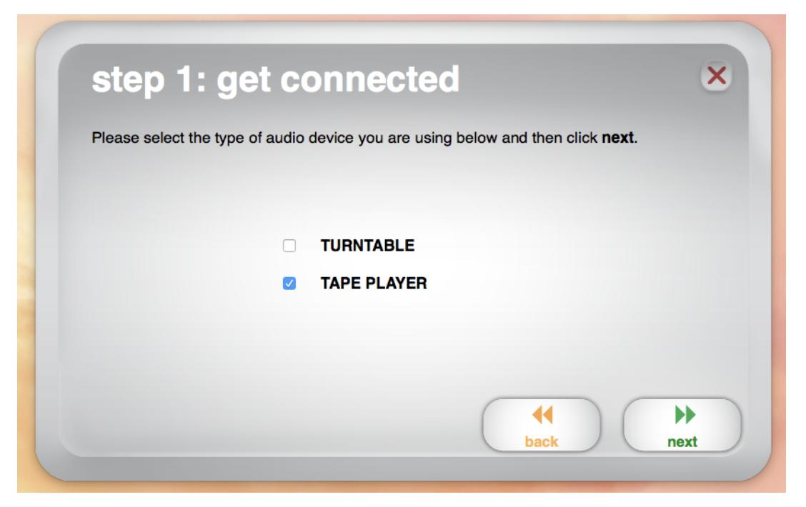 Image showing select audio type menu.