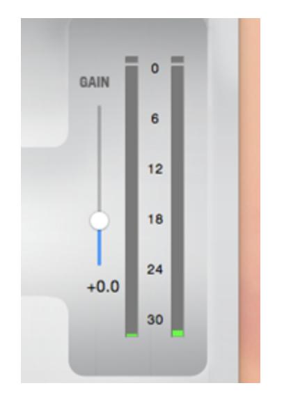 Image of gain meter and adjustment slider.
