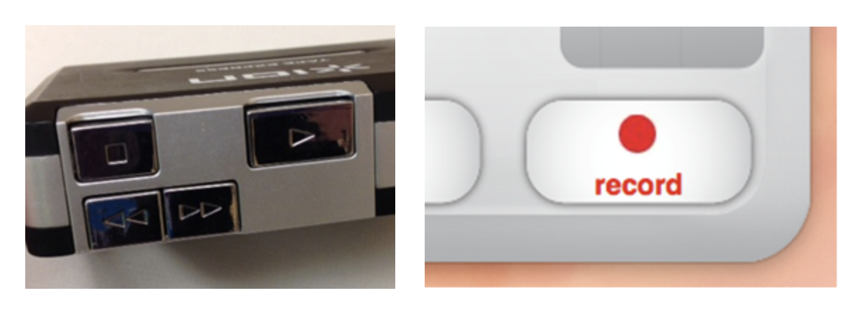 Image of play button on ION Tape Express and record button on EZ software.