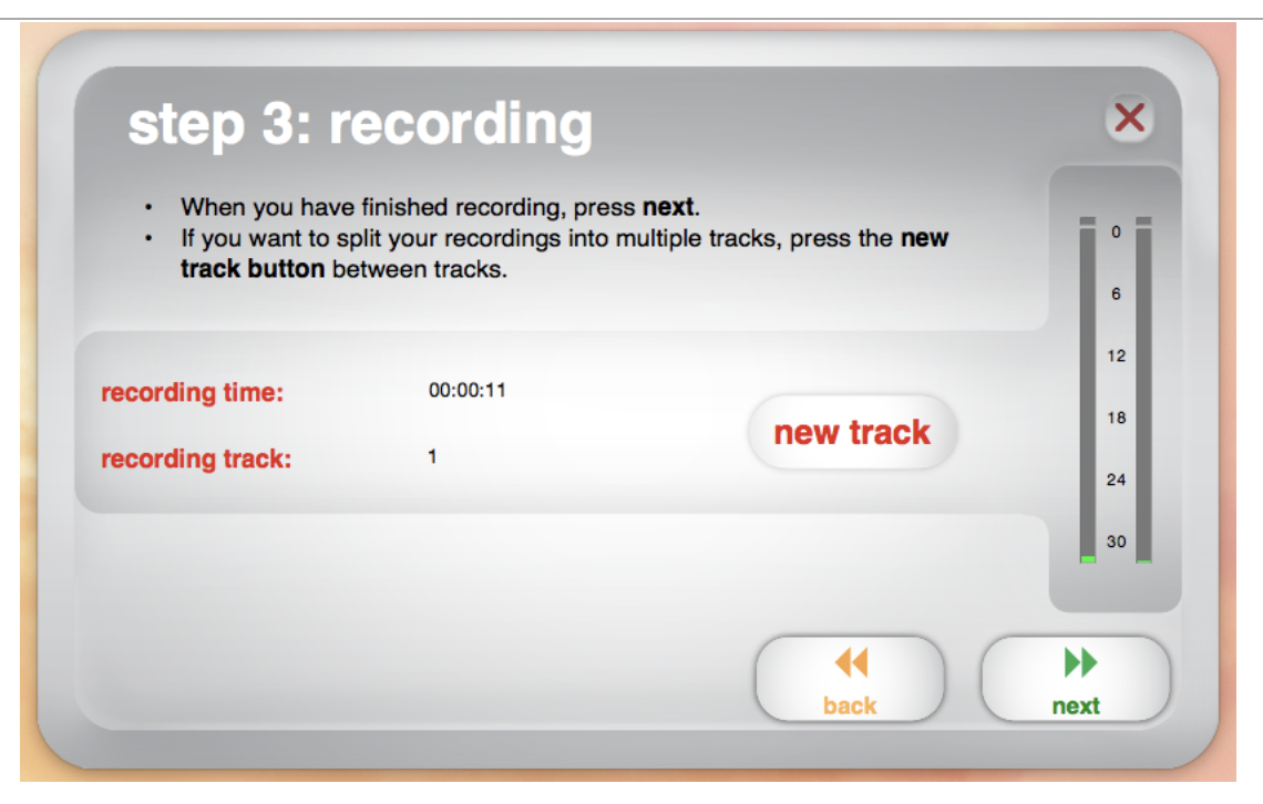 Image of EZ software interface noting recording time, recording track, and new track button.