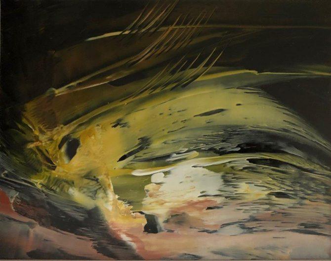 "Ala Park, ""Three Swimming Fish"", encaustic (hot wax) painting"