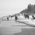 Line of carriages on lakefront