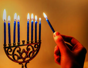 Hanukkah menorah with eight candles lit