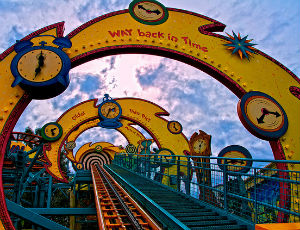time travel themed roller coaster