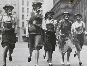 Women in gas masks