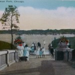 Postcard image of peopla at leisure in Sherman Park, 1915. Source: Chicago City-Wide Collection, Box 100, Folder 2