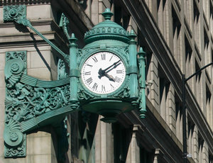 iconic clock on Macy's building on State Street in Chicago