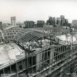 View looking southeast, showing construction of Winter Garden, 1990 June 27. Source: Chicago Public Library Archives. Harold Washington Library Center Construction Photographs. Peter Fish Studio, Chicago.