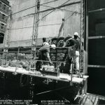 Installation of granite detail, 1990 July 12. Source: Chicago Public Library Archives. Harold Washington Library Center Construction Photographs. Peter Fish Studio, Chicago.