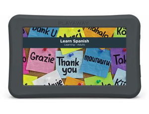 Playaway tablet with Learn Spanish on the screen