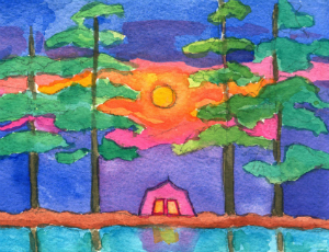 Watercolor painting of house, trees and sunset