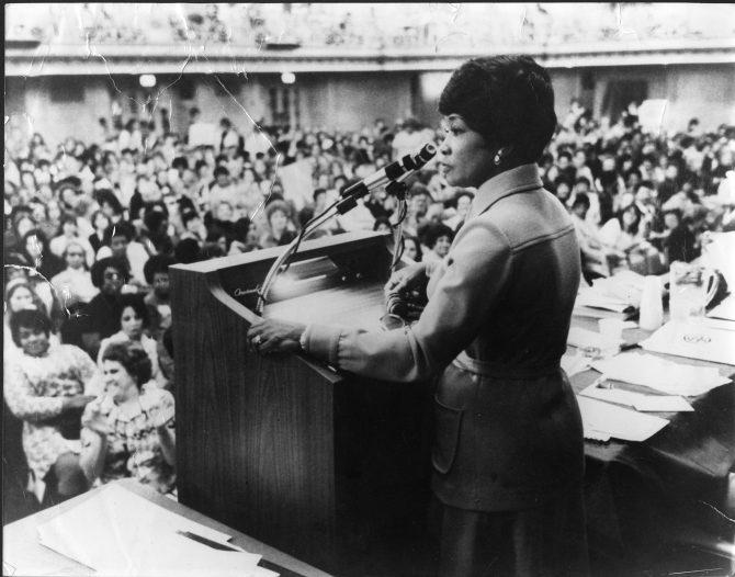 Addie Wyatt speaking, 1974