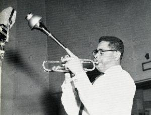 "Dizzy Gillespie portrait chosen for his ""Afro"" album, circa 1950."