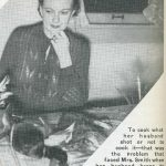 "Photo of woman with game on table. Text reads ""To cook what her husband shot or not to cook it--that was the problem that faced Mrs. Smith when her husband began to dump dead game on her kitchen table. In this article she tells entertainingly what she did and the fun she had doing it."""