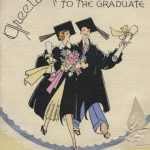 woman and man in graduation cops and gowns walk arm in arm holding flowers and diplomas