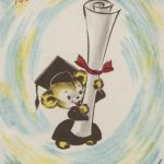 cartoon mouse wearing graduation cap and gown and holding oversize scroll tied wih ribbon