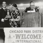 Anne Burke and a colleague accept an award for their participation in organizing the Special Olympics, 1970. Source: Chicago Park District Records: Photographs, Special Collections, Image 125_015_004.