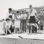 An athlete competes in the broad jump at the first Special Olympics, 1968. Source: Chicago Park District Records: Photographs, Special Collections, Image 125_001_001.