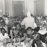 Dinner at the LaSalle Hotel, which served as the Olympic Village for the first Special Olympics, 1968. Source: Chicago Park District Records: Photographs, Special Collections, Image 124_009_001.