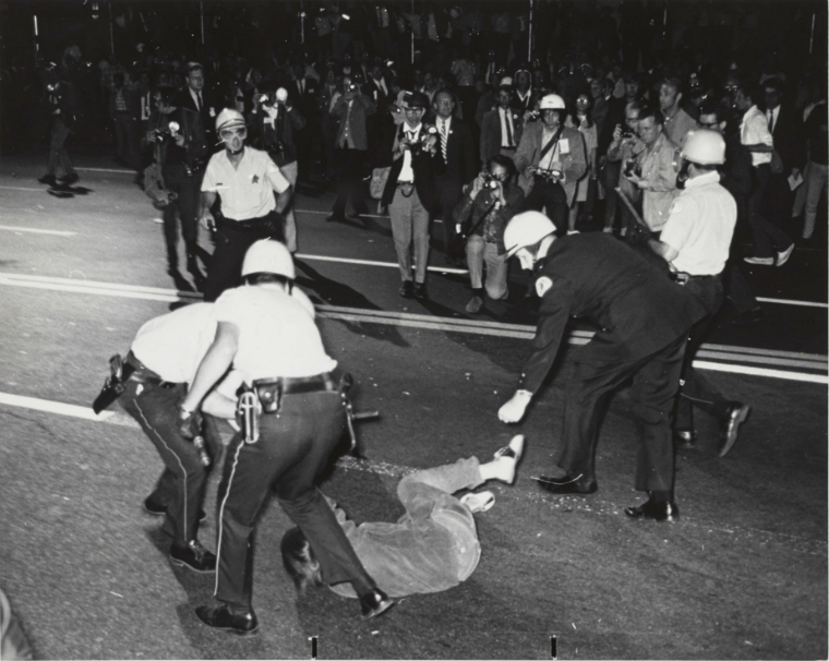 Police Clash With Protesters Near Grant Park 1968 Source Special Collections Chicago