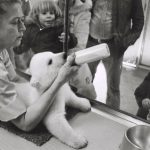 A zookeeper demonstrates feeding a baby polar bear for an on-looking crowd, undated. Source: Special Collections, Chicago Park District Records: Photographs, Photo 167_011_021.