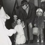 Halloween, 1969. Costumed children are surprised by a witch at a Chicago Park District Halloween celebration. Source: Special Collections, Chicago Park District Records: Photographs, Photo 119_011_024.