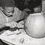 Pumpkin carving, undated. Source: Special Collections, Chicago Park District Records: Photographs, Photo 119_012_035.