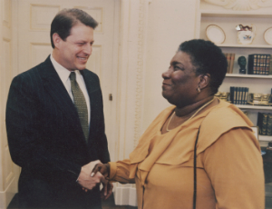 Vice President Al Gore and Hazel Johnson meeting at the White House, undated