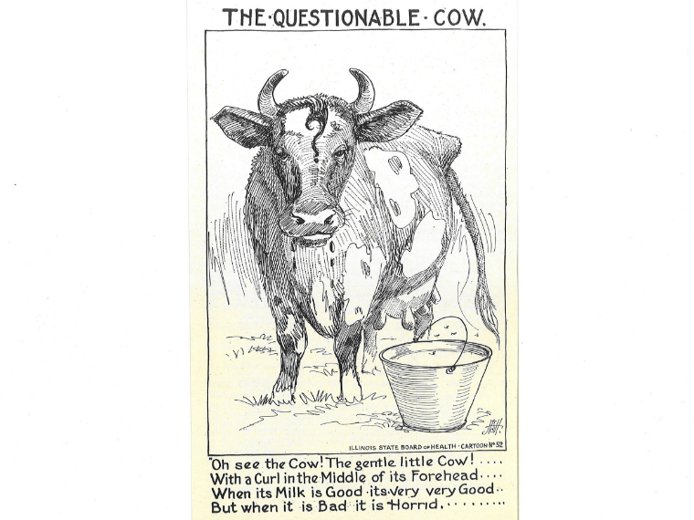 The Questionable Cow. Oh see the Cow! The gentle little Cow! With a Curl in the Middle of its Forehead. When its Milk is Good it's very very Good. But when it is Bad it is Horrid.
