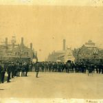 Pullman Company Employees Outside Gates, circa 1890s. Source: Historic Pullman Collection Image 1.13, Special Collections, Chicago Public Library