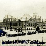 National Guard in front of Arcade Building during Strike, 1894. Source: Historic Pullman Collection Image 1.33, Special Collections, Chicago Public Library