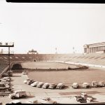 Construction of the track at Soldier Field for the 1959 Pan-American Games. Source: Special Collections, Chicago Park District Records: Photographic Negatives, 033_003_001