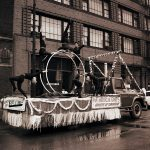 A Chicago Park District float for the Pan-American Games parade, Illinois & Clark Streets. Source: Special Collections, Chicago Park District Records: Photographic Negatives, 033_012_001