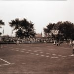 A tennis match played at the Lincoln Park Tennis Club during the 1959 Pan-American Games. Source: Special Collections, Chicago Park District Records: Photographic Negatives, 033_024
