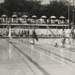 Ceremonies held before the swimming competitions begin at Portage Park for the 1959 Pan-American Games. Source: Special Collections, Chicago Park District Records: Photographs, Photo 089_014_011