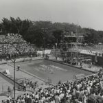 A water polo game is played in the diving well at Portage Park during the 1959 Pan-American Games. Source: Special Collections, Chicago Park District Records: Photographs, Photo 090_006_012