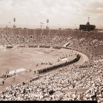 Pan-American Games opening ceremony at Soldier Field, 1959. Source: Special Collections, Chicago Park District Records: Photographic Negatives, 033_004_001