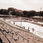Construction of the pool at Portage Park to be used in the swimming, diving and water polo competitions at the 1959 Pan-American Games. Source: Special Collections, Chicago Park District Records: Photographic Negatives, 033_020