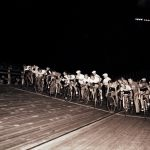A night time cycling race at Gately Stadium during the 1959 Pan-American Games. Source: Special Collections, Chicago Park District Records: Photographic Negatives, 033_028