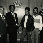 Mayor Sawyer welcomes Alejandro Cruz, male winner of 1988 Chicago Marathon.