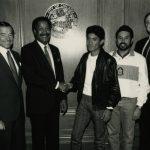 Mayor Sawyer welcomes Alejandro Cruz, male winner of 1988 Chicago Marathon.