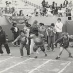 Special Olympics athletes start a race, undated.