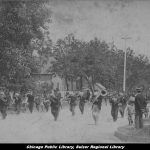 band marching down a street in a parade