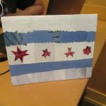 Made in the Maker Lab: A collage of the Chicago flag.