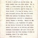 Signed letter from Langston Hughes reads: Langston Hughes, 20 East 127th Street, New York 35, N.Y. July 14, 1964 Dear Charlemae, So sorry I missed you in New York. My phone number when you come again: TR. 3-4022. ... Your photos are on the way. I think it is wonderful you're doing all those books! I'm deep in books, too--just finished putting The Book of Negro Humor for Indiana University Press--from plantation stories to integration jokes, Dunbar to Baldwin. Should be fun for readers. ... In September I'm going to the Berlin Festival of the Arts whose accent this year is on African and Afro-American expressionism; and also I'm to get a plaque from the Free Academy of Arts in Hamburg, where I've never been. Best ever to you, Sincerely, Langston