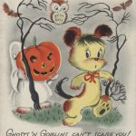 ghost holding pumpkin, following bear through the woods