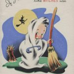child dressed as ghost holding broom. silhouette of witch flying against the moon