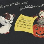 puppy dressed in ghost costume, owl sitting on jack-o-lantern