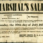 Poster for court ordered public auction of enslaved persons in Littleton Gatewood v. King's Administrator, etc., Louisville, [Kentucky]